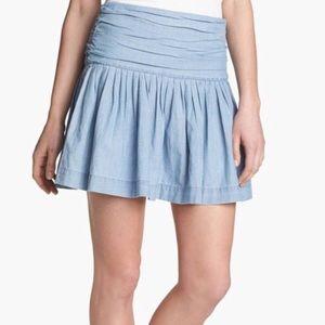 PAIGE Danni Chambray Denim Ruched Skirt NWT Sz 4